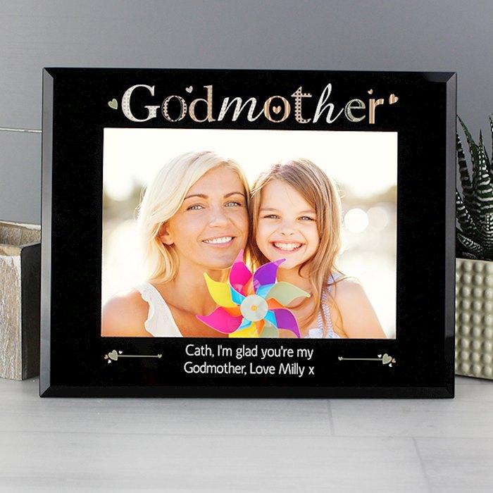 Godmother Black Glass 7x5 Photo Frame