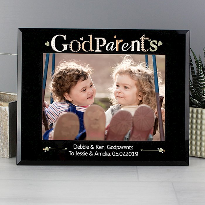 Godparents Black Glass 7x5 Photo Frame