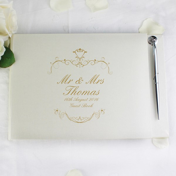 Gold Ornate Swirl Guest Book & Pen