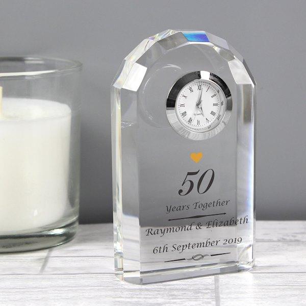 Golden Anniversary Crystal Clock