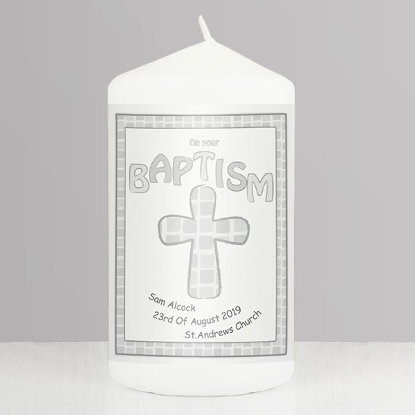 Grey Baptism Candle
