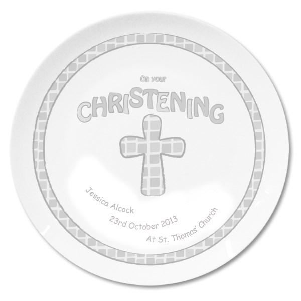 Grey Christening Plate