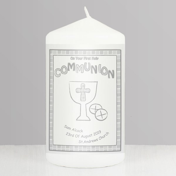 Grey First Holy Communion Candle