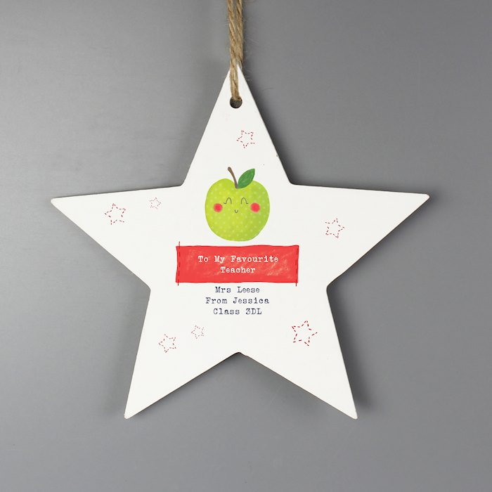 Apple for the Teacher Wooden Star Decoration