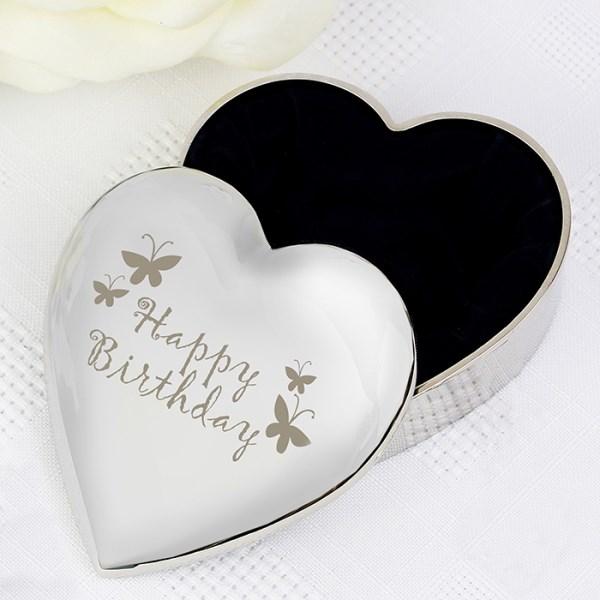 Happy Birthday Butterfly Heart Trinket Box