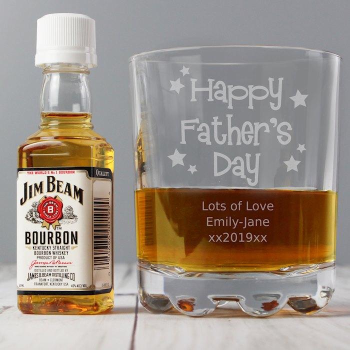 Happy Father's Day Glass & Bourbon Whiskey Miniature Set