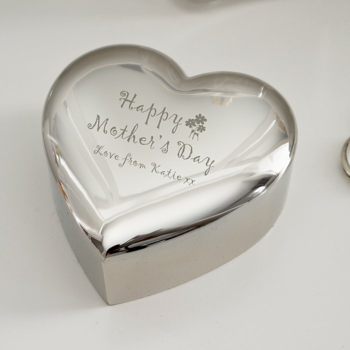Personalised Happy Mother's Day Heart Trinket Box