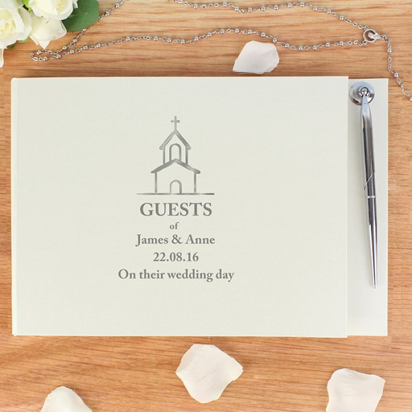 Personalised Church Design Hardback Guest Book & Pen