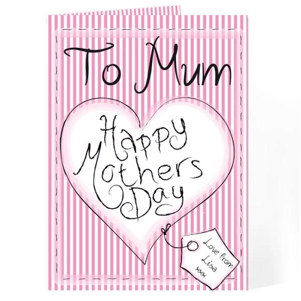 Heart Stitch Happy Mother's Day Card