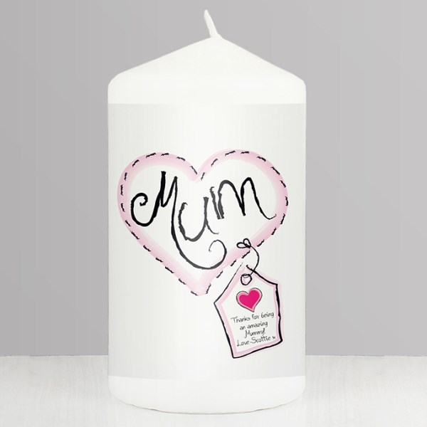 Heart Stitch Mum Candle