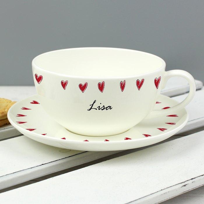 Hearts Teacup & Saucer