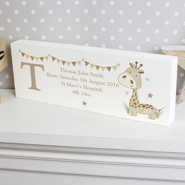 Hessian Giraffe Wooden Block Sign