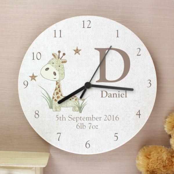 Hessian Giraffe Shabby Chic Wooden Clock
