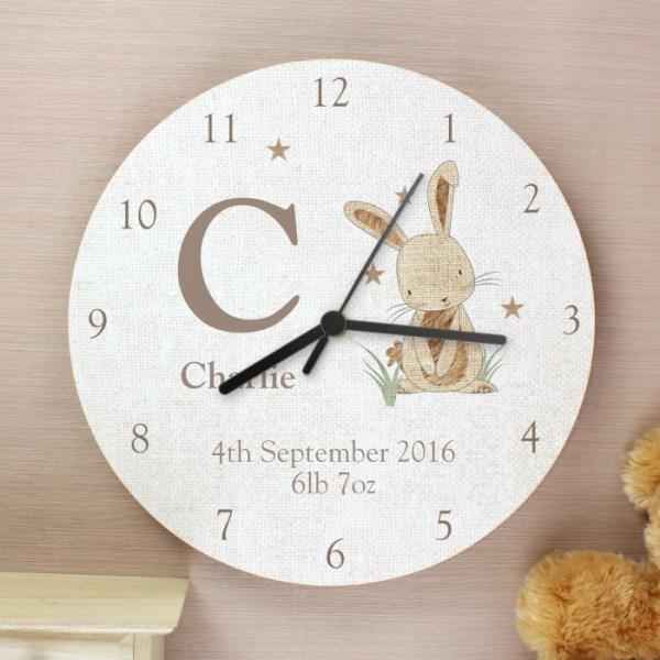 Hessian Rabbit Shabby Chic Wooden Clock