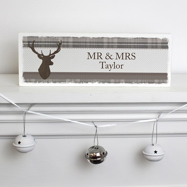 Highland Stag Wooden Block Sign