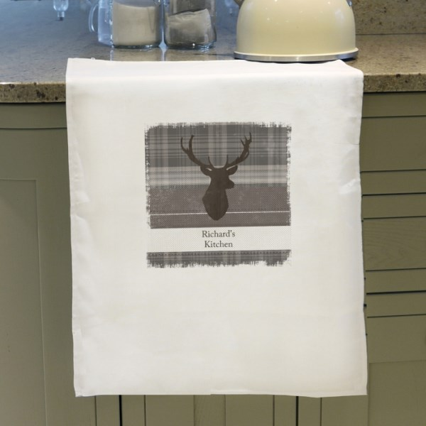 Highland Stag White Tea Towel