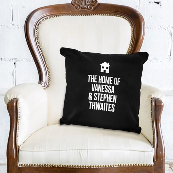 Home Motif Black Cushion Cover