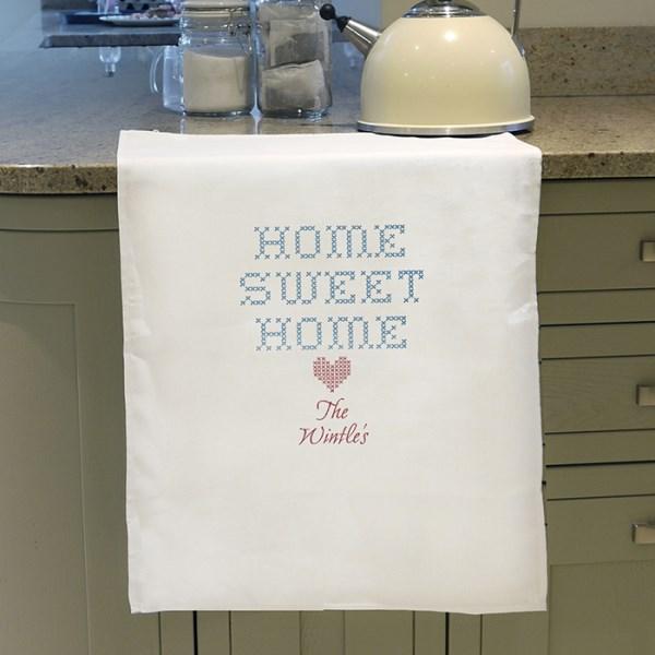 Home Sweet Home White Tea Towel
