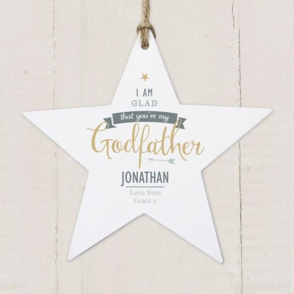 I Am Glad... Godfather Wooden Star Decoration