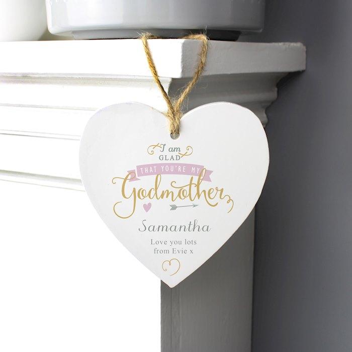 I Am Glad... Godmother Wooden Heart Decoration