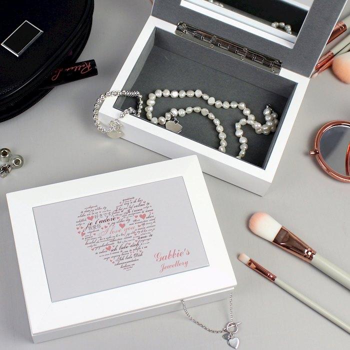 I Love You White Jewellery Box