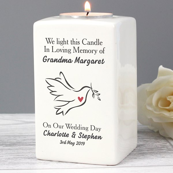 In Loving Memory Dove Ceramic Tea Light Candle Holder