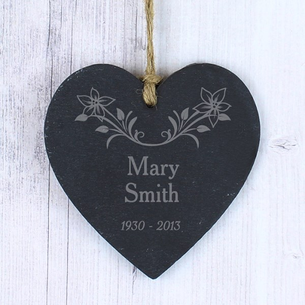 In Loving Memory Floral Slate Heart