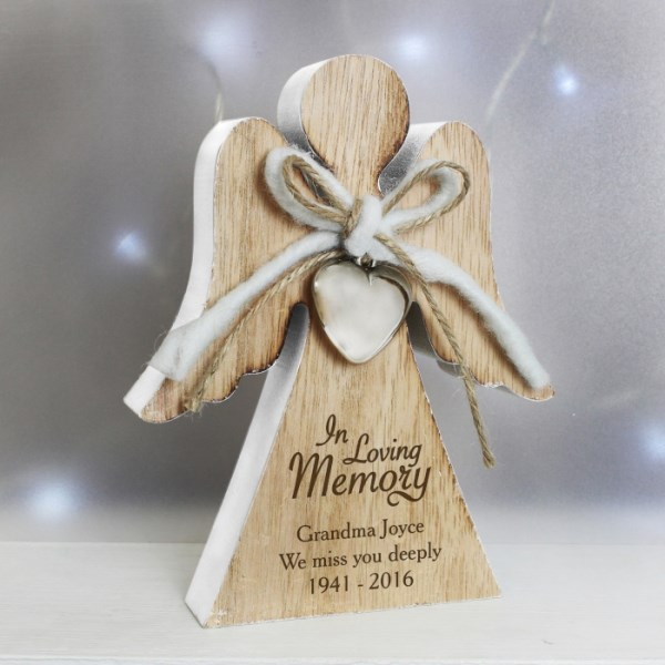 In Loving Memory Rustic Wooden Angel Decoration