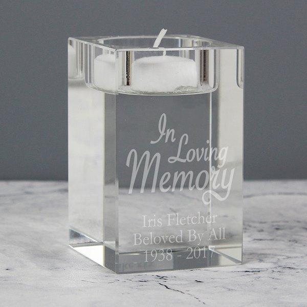 In Loving Memory Glass Tea Light Candle Holder