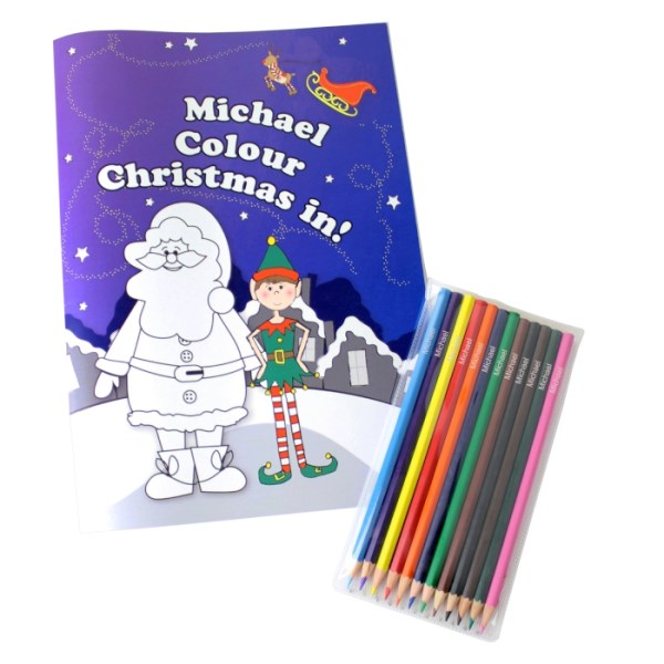 'It's Christmas' Elf Colouring Book with Pencil Crayons