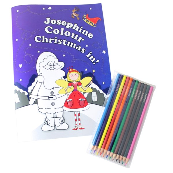 'It's Christmas' Fairy Colouring Book with Pencil Crayons
