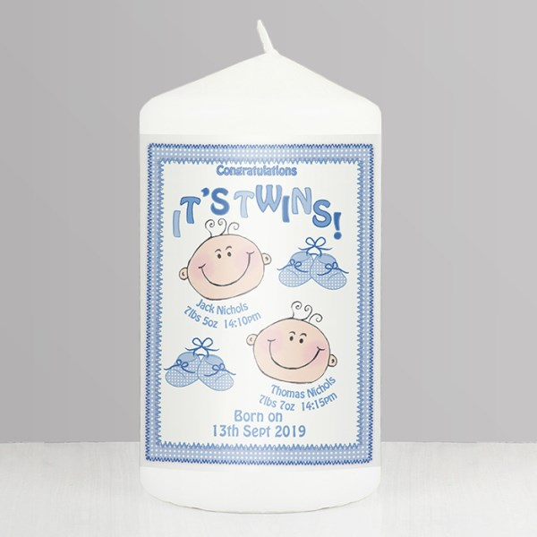 It's Twins Candle blue