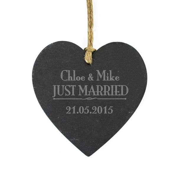 Just Married... Slate Heart Decoration