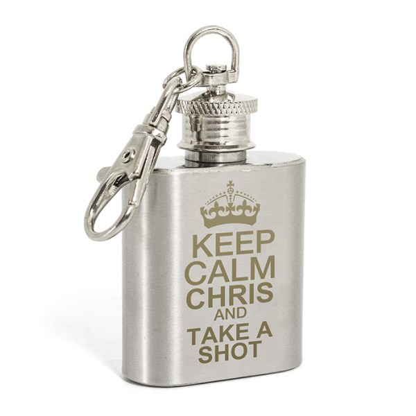 Keep Calm 1oz Hip Flask Keyring