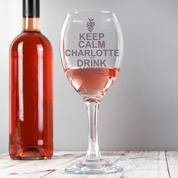 Keep Calm Drink Wine Glass