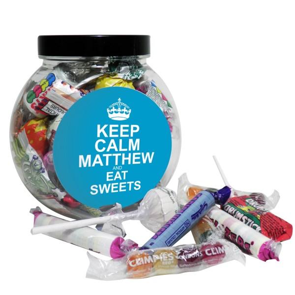 Keep Calm Round Blue Sweet Jar