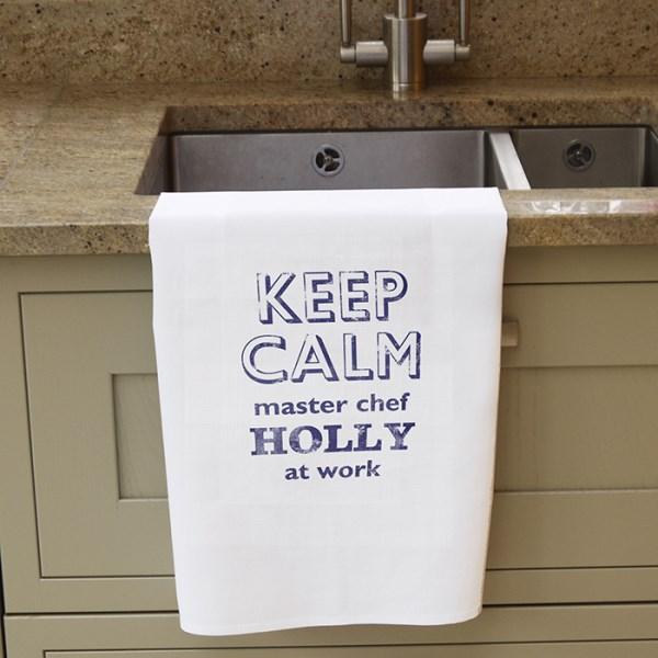 Keep Calm White Tea Towel