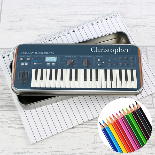 Keyboard Pencil Tin with Pencil Crayons