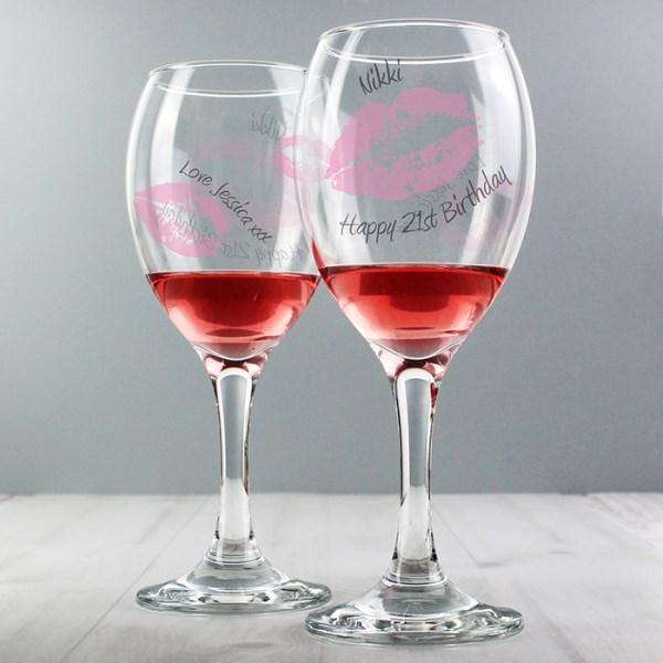 Kiss Wine Glass