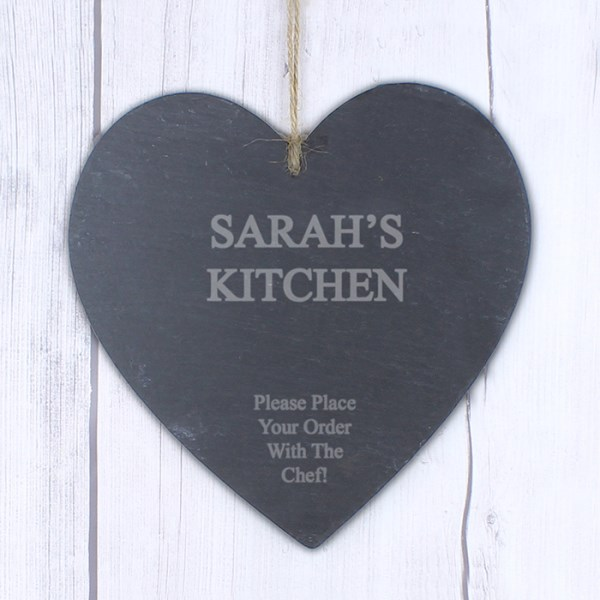 Large Engraved Slate Heart