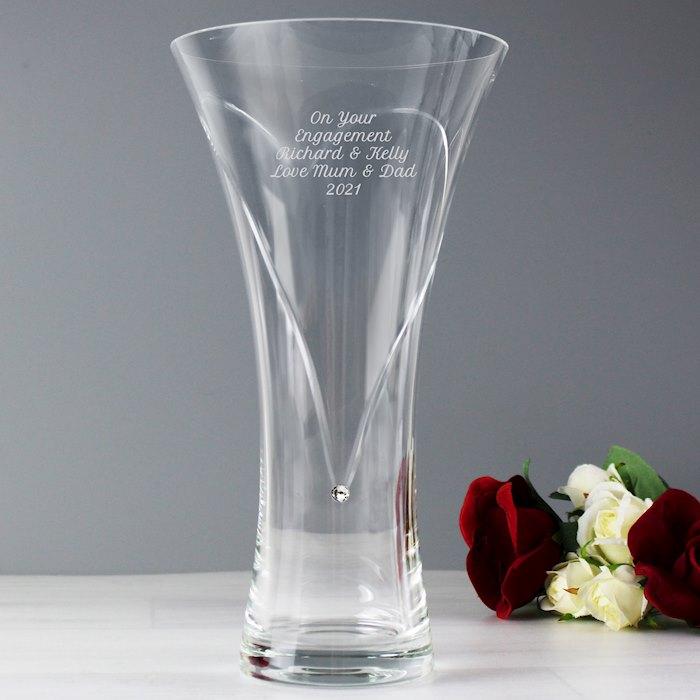 Hand Cut Diamante Heart Vase with Swarovski Element