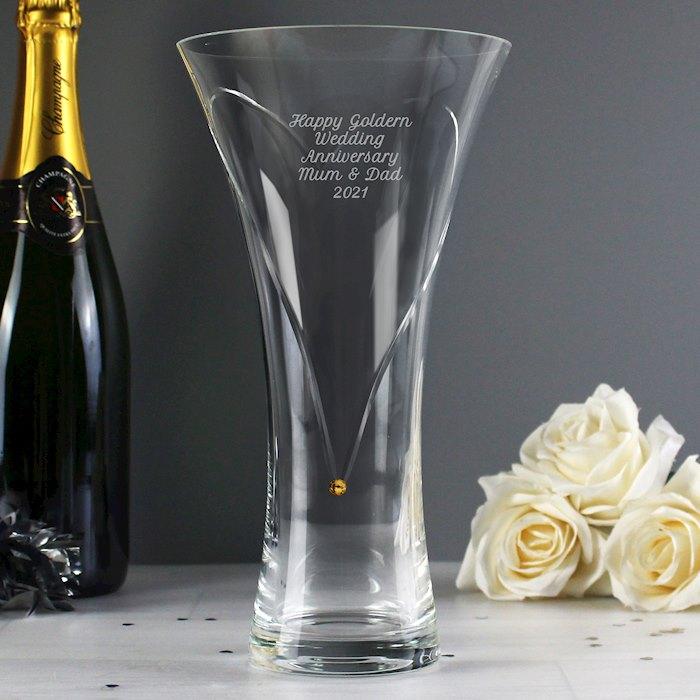 Hand Cut Gold Diamante Heart Vase with Swarovski Elements