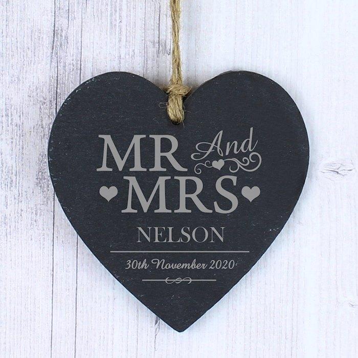 Personalised Mr & Mrs Slate Heart Decoration