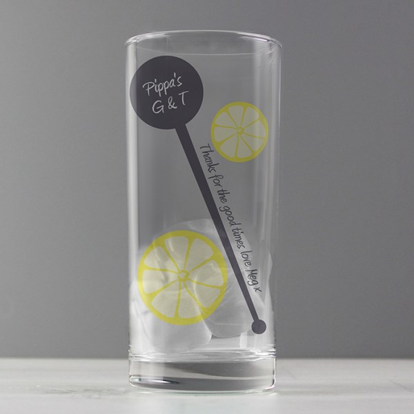 Lemon & Stirrer Hi Ball Glass