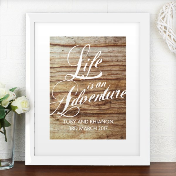 'Life is an Adventure' White Framed Poster Print