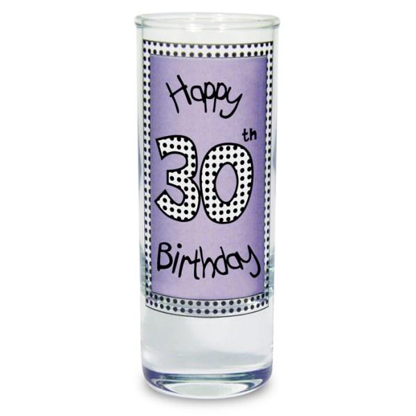 Lilac 30th Happy Birthday Shot Glass