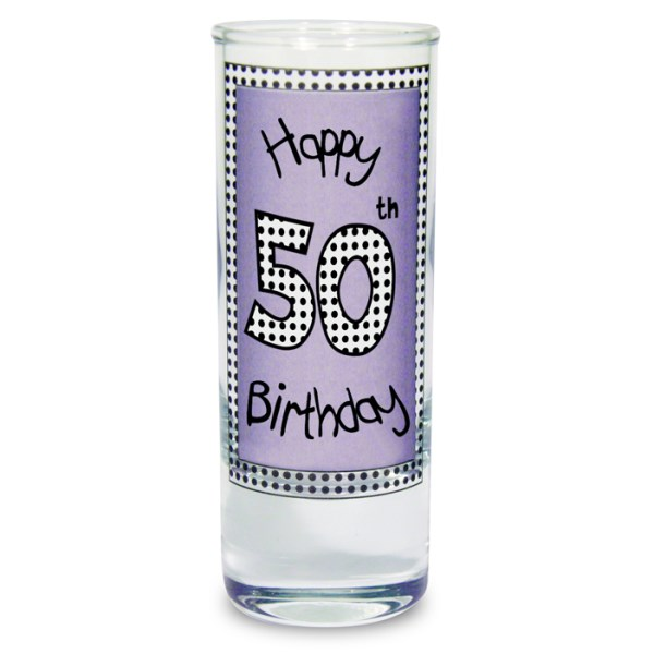Lilac 50th Happy Birthday Shot Glass