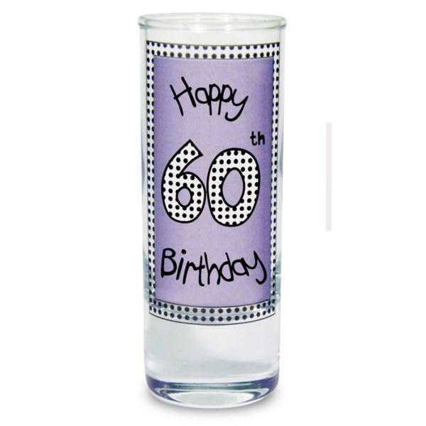 Lilac 60th Happy Birthday Shot Glass