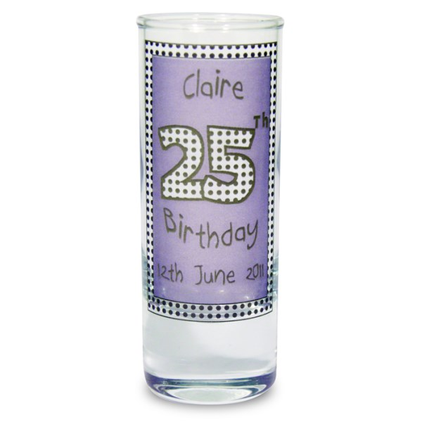 Lilac Happy Birthday Shot Glass