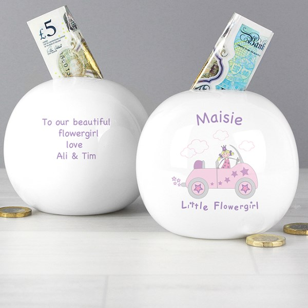 Little Flowergirl in Car Money Box